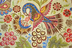 Pelikán kŕmiaci vlastnou krvou svoje mláďatá - detail maľby v kostole Sedembolestnej Panny Márie vo Vajnoroch z r. 1968. Jeden z najobľúbenejších motívov vajnorských maliarok.