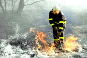 Zásah. Hasiči tvrdia, že tráva sa hasí ťažko, stačí vietor a horí všade naokolo.