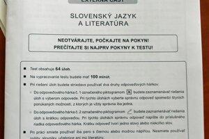 Maturitný test počas písomnej maturitnej skúšky elektronickou formou zo slovenského jazyka a literatúry .