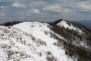 Vrcholový chrbát Vihorlatu na prelome zimy a jari. Pohľad zo západného vrcholu na východný.