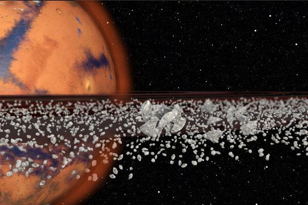 Takto by vyzerali prstence okolo Marsu z mesačného sedimentu.