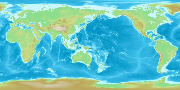 Mapa vycentrovaná na Tichý oceán.
