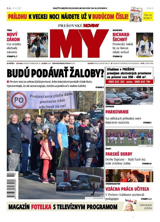 Titulná strana týždenníka MY Prešovské noviny č. 13/2017.