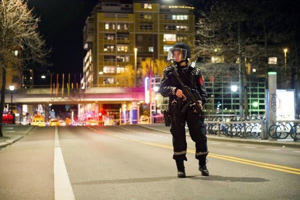 Nórska policajtka hliadkuje na mieste, kde sa našlo zariadenie podobné bombe.