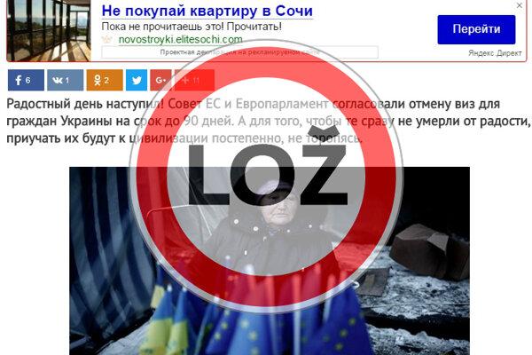 Neplnohodnotný bezvízový styk pre Ukrajinu je hoax.
