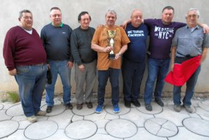 Organizátori zápasu (zľava): Rudolf Juris, Miloš Belák, Peter Gulač, Peter Opatovský, Jaroslav Surman, Marek Bumbál, Marian Halák.