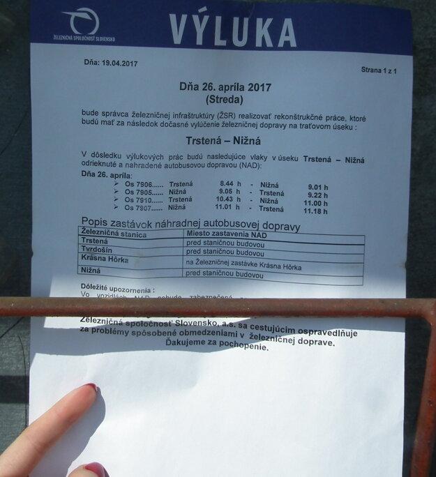Popis náhradnej dopravy počas zajtrajšej úpravy trate v Tvrdošíne - Krásnej Hôrke.