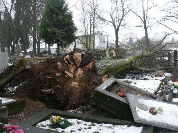 Vietor na cintoríne napáchal riadne škody.