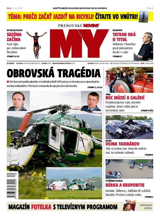 Titulná strana týždenníka MY Prešovské noviny č. 19P2017.
