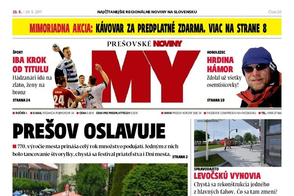 Titulná strana týždenníka MY Prešovské noviny č. 20/2017.