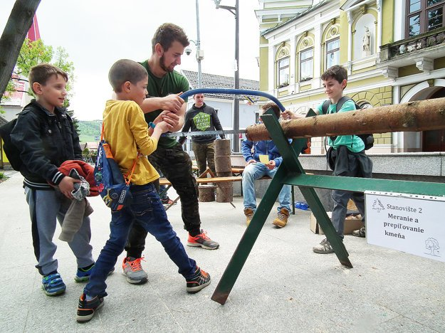 Chlapci sa učili píliť drevo.