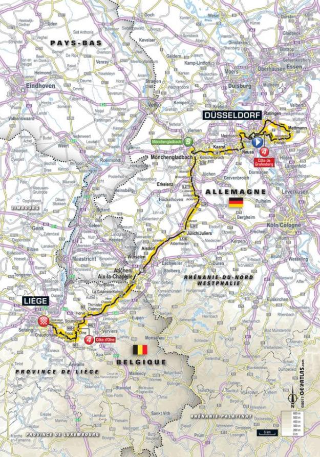 Mapa druhej etapy Tour de France 2017.