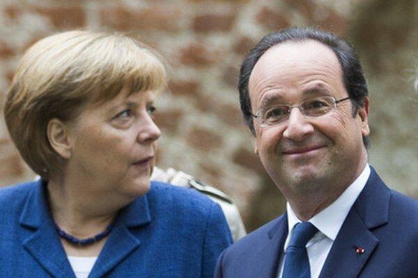 Nemecká kancelárka Angela Merkelová a francúzsky prezident Francois Hollande.