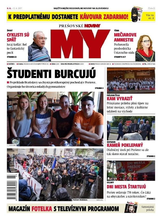 Titulná strana týždenníka MY Prešovské noviny č. 22/2017.