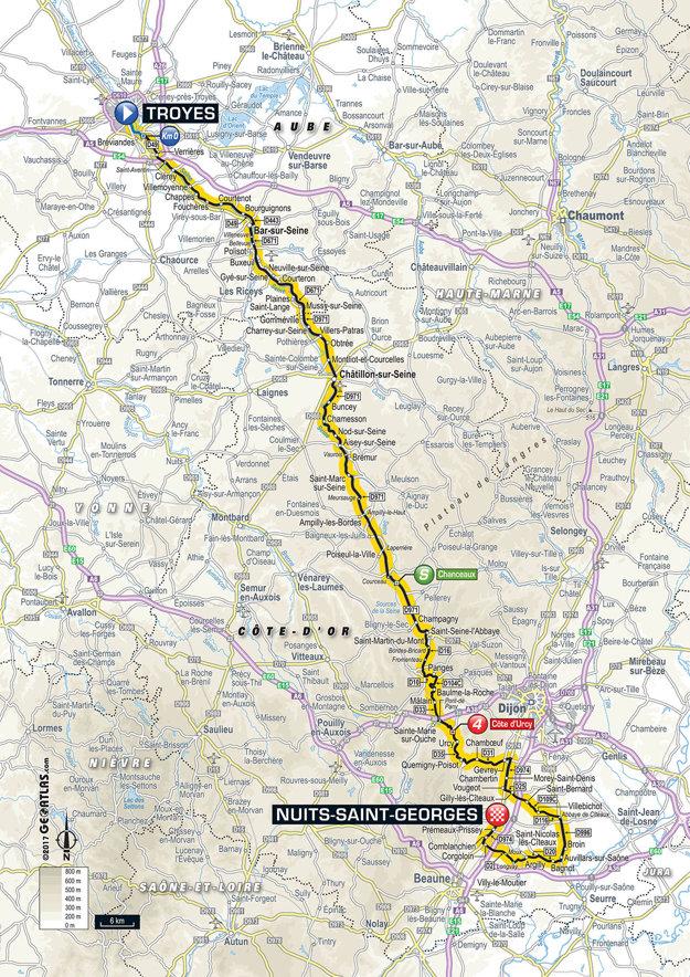 Mapa siedmej etapy Tour de France 2017.