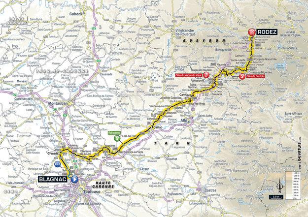 Mapa štrnástej etapy Tour de France 2017.