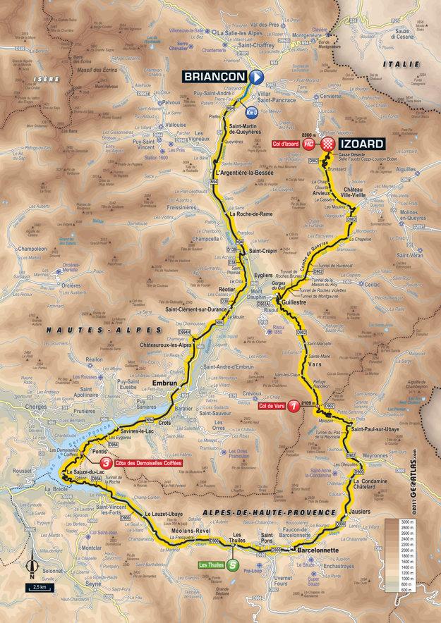 Mapa osemnástej etapy Tour de France 2017.