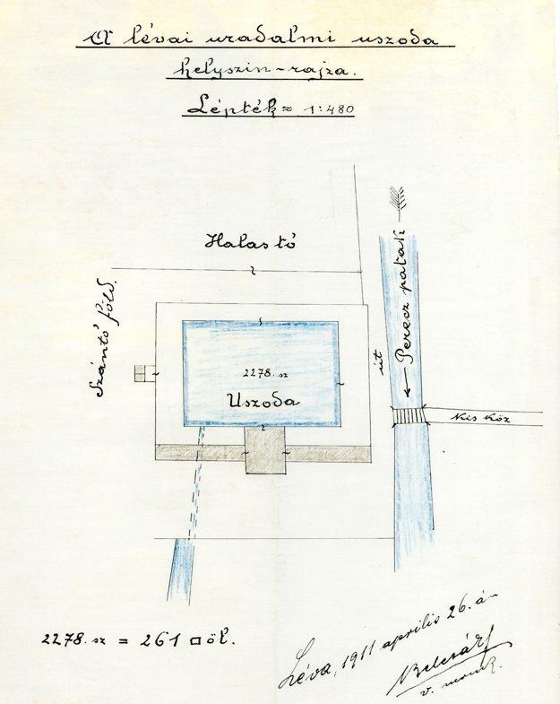 Náčrt levickej plavárne s potokom Perec z roku 1911.