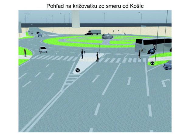 Budúci stav. Pohľad na križovatku v smere od Košíc.