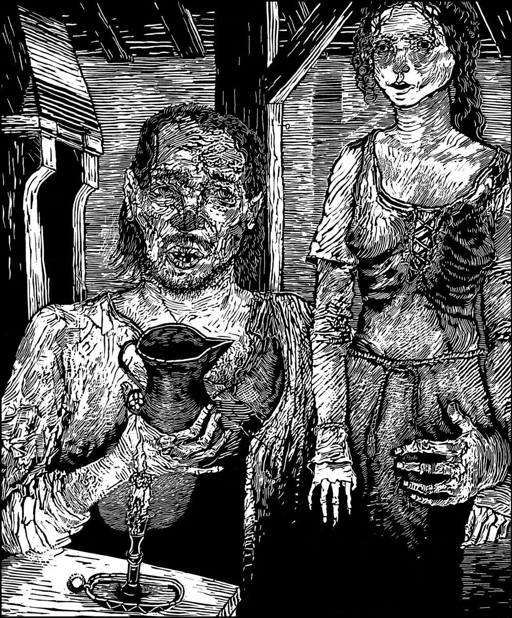 Mal pred sebou silného, svalnatého chlapa, ktorý si teraz hovel pri džbánku vína. Žena vyzerala ako umučené stvorenie; chudá, bledá, uplakaná a slabúčka, čo vysvetľoval gazda tým, že je vždy chorá.