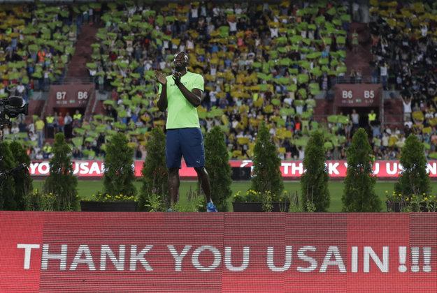 Usain Bolt počas rozlúčky na Zlatej tretre.