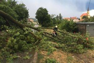 Búrka v Stupave zvalila strom priamo na cestu