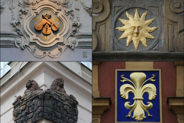 Domové znamenia U Troch husličiek aU Zlatého slnka...
