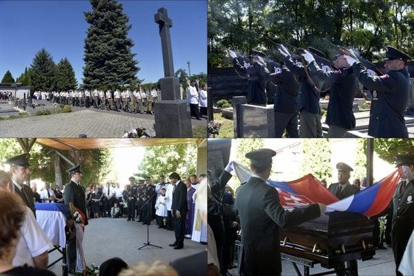 Na snímke rozlúčka s tragicky zosnulým príslušníkom železničnej polície ppor. in memoriam Michalom Šulkom na cintoríne v Mani.