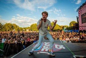 Dave Bradley na festivale Sziget. V pozadí ananásy.