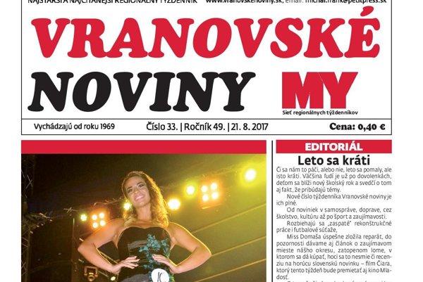Titulná strana týždenníka Vranovské noviny č. 33/2017.