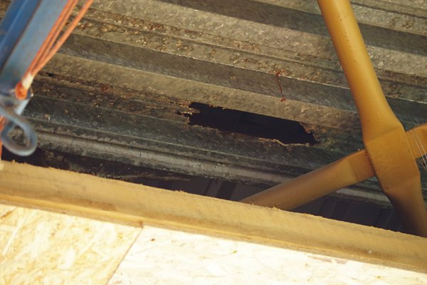 Strecha v telocvični mestskej školy je v havarijnom stave. časť už sa prepadla. Takýchto dier sa nájde viac.