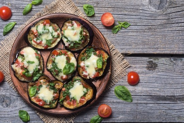 Baklažánové mini pizze