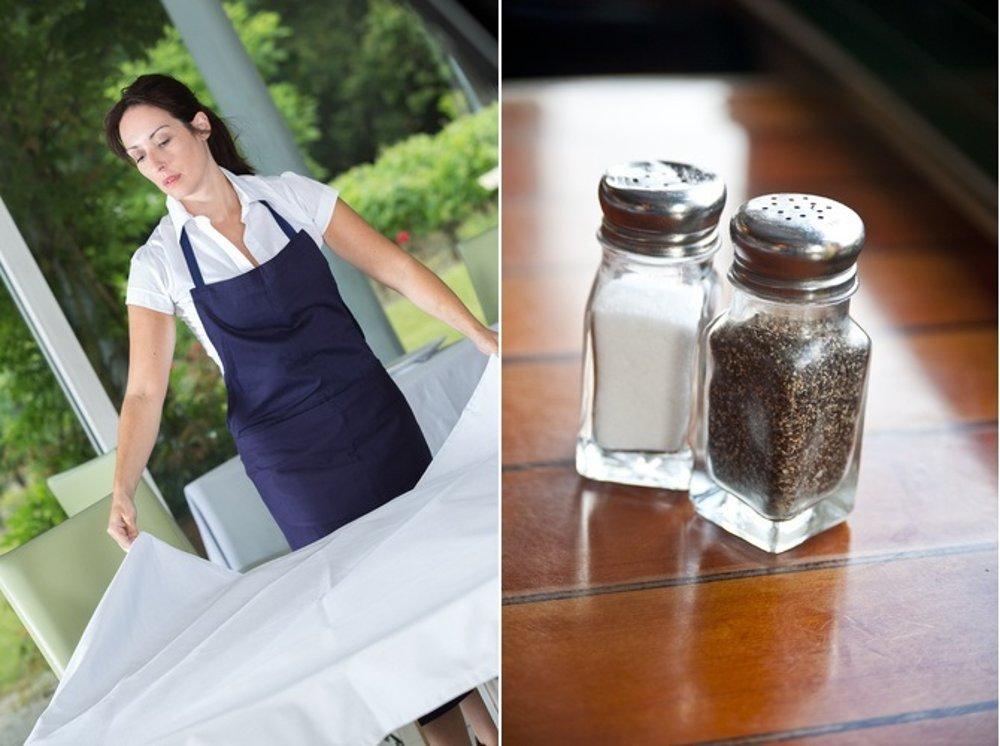 Služobná si má pred podávaním jedla umyť ruky a opáše si čistú zásteru. Korenička a solnička by mali stáť uprostred stola.