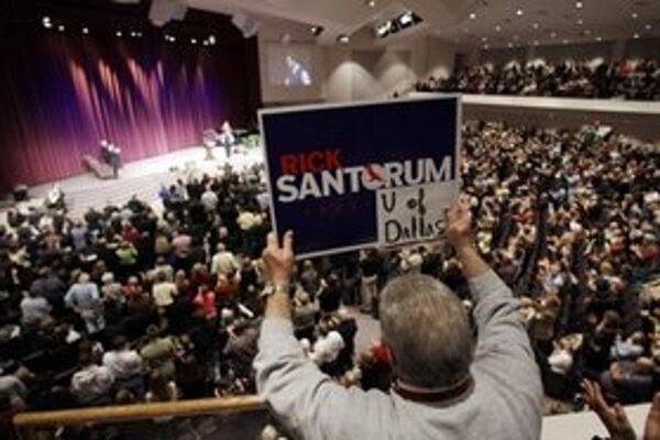 Santorumov míting v kostole v meste Cumming.
