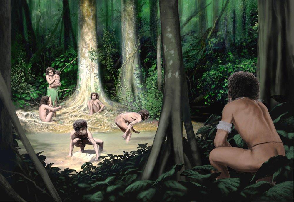 """Nijaký sex, kým neprinesieš potravu. Tak si britský antropológ predstavuje obraz, v ktorom žena z rodu Homo sapiens """"krotí"""" muža a formuje tým ľudský jazyk."""