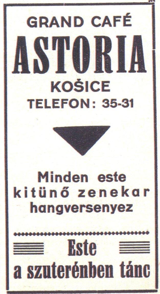 Kaviareň Astória na dobovej reklame.