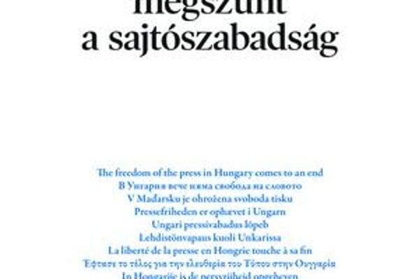 Maďarský denník oznámil koniec slobody tlače v Maďarsku vo všetkých jazykoch únie.