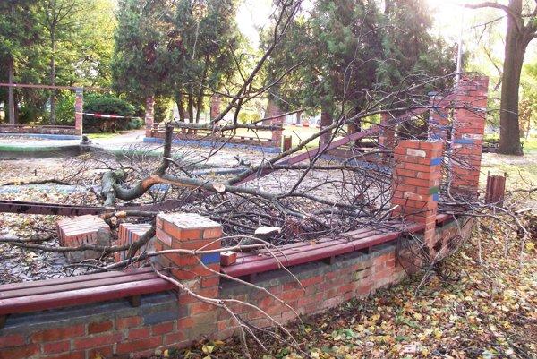 Časť stromu spadla do žabej fontány a rozbúrala murované stĺpy.