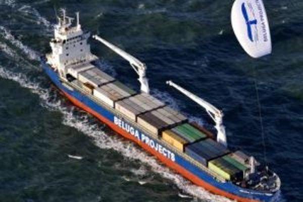 MS Beluga Skysails počas testovacej plavby.