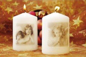 Vianočné sviečky dekorované servítkovou technikou.