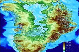 Grónsko bez ľadovca. Topografická mapa Grónska ukazuje výšky od 1500 metrov pod hladinou mora po 1500 metrov nad morom.
