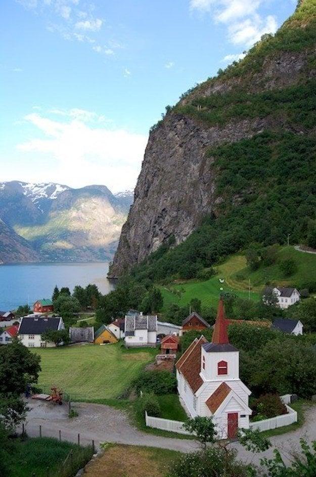 Obec Flåm v Nórsku.
