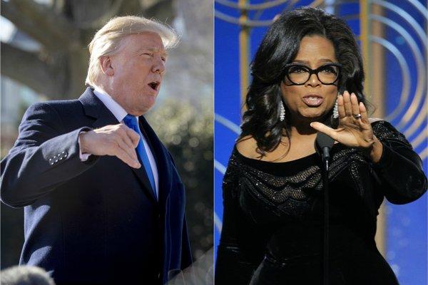 Prezident USA Donald Trump a moderátorka Oprah Winfreyová.