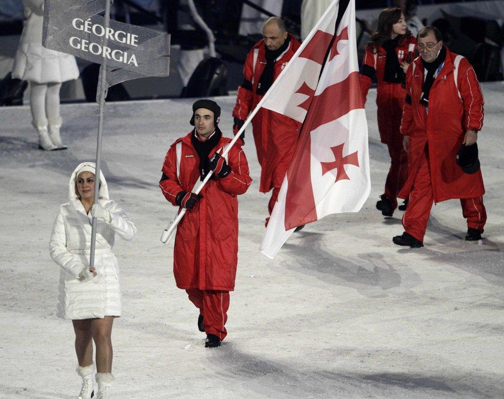 Gruzínska olympijská výprava na otváracom olympijskom ceremoniáli.