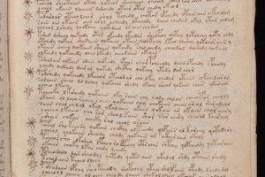 Posledná časť Voynichovho rukopisu je bez ilustrácií. Obsahuje text s odrážkami.