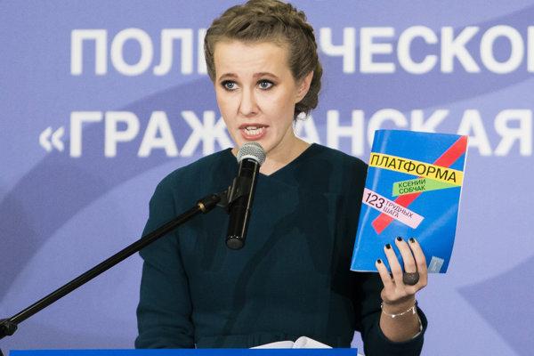 Ruská moderátorská hviezda Xenija Sobčaková.