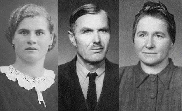 Na fotografiách zľava: Dcéra Mária Hradská, Adam Fiačan aMária Fiačanová.