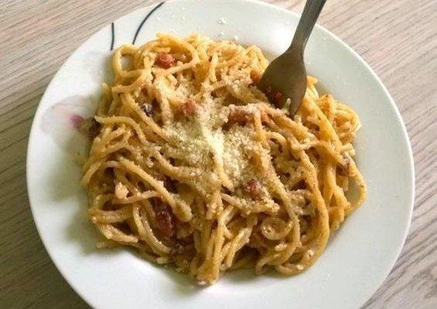 Špagety s citrónom a šunkou