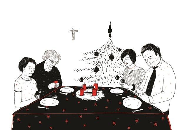 Atmosféru moderných Vianoc zachytila na ilustrácii pre kultúrnu rubriku SME mladá výtvarníčka IVANA ŠÁTEKOVÁ.