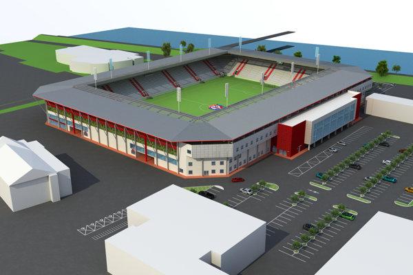 Vizualizácia futbalového štadióna.